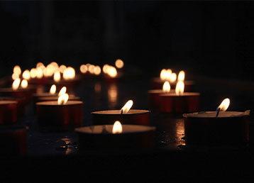 Multiple tea light candles.