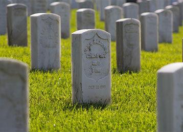Graveyard tombstones.